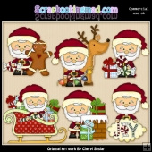 Little Santa Christmas Eve ClipArt Collection
