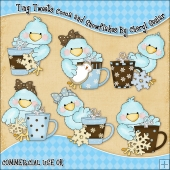 Tiny Tweets Cocoa and Snowflakes ClipArt Graphic Collection