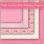 5 Pink Garden Pals Backing Papers Download (C123)