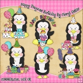 Happy Penguins Birthday ClipArt Graphic Collection