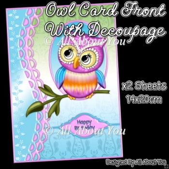 Pink and Blue Owl Card Front with Decoupage Layers