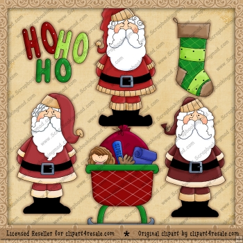 Christmas Santa's 2 ClipArt Graphic Collection