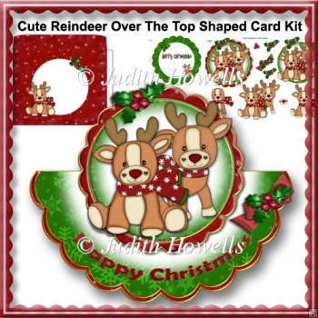 Cute Reindeer Over The Top Shaped Card Kit