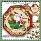 Santa And Sleigh Octagonal Shaped Card Kit