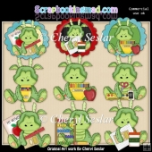 Stuffed Dragon Loves School ClipArt Collection