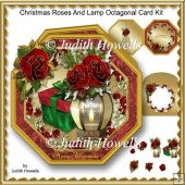 Christmas Roses And Lamp Octagonal Card Kit