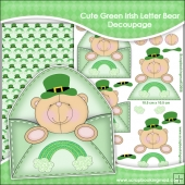 Cute Green Irish Letter Bear Decoupage Download