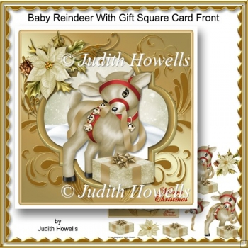 Baby Reindeer With gift Square Card Front