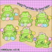 Happy Frogs Easter ClipArt Graphic Collection