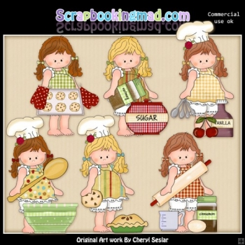 Barefoot Beth Learns To Bake ClipArt Collection