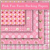 5 Pink Fun Faces Backing Papers Download (C101)