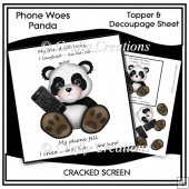 Phone Woes Topper & Decoupage Sheet - Panda