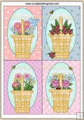 4 Flower Baskets Quick Greeting Cards PDF Download