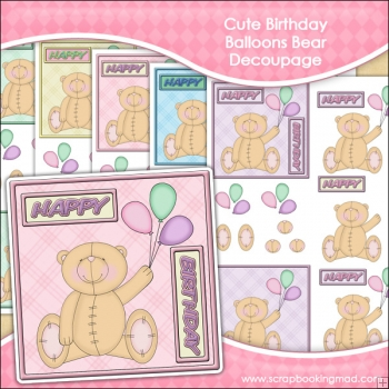 Cute Birthday Balloons Bear Decoupage Download