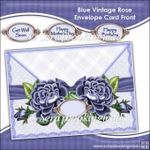 Blue Vintage Rose Envelope Card Front