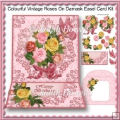 Colourful Vintage Roses On Damask Easel Card Kit