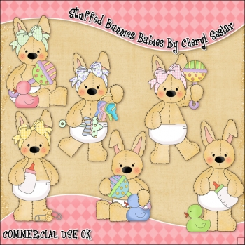 Stuffed Bunnies Babies ClipArt Graphic Collection