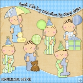 Sweet Tots Boy Celebration ClipArt Graphic Collection