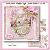 Bunny With Roses Large Card Front And Insert