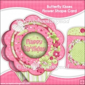 Butterfly Kisses Flower Shape Card