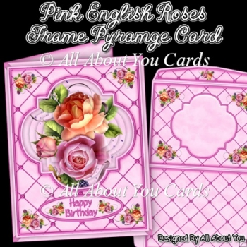 Pink English Roses Frame Pyramage Card