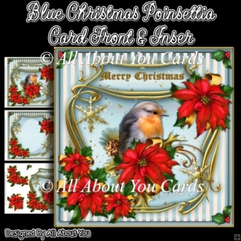 Blue Christmas Poinsettia Card Front & Insert