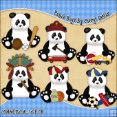 Panda Boys ClipArt Graphic Collection