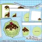 Yummy Cupcakes Scalloped Foldback Card & Envelope