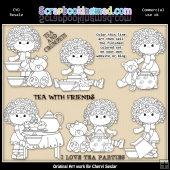 Charlottes Tea Party Colour Your Own ClipArt RESALE SET