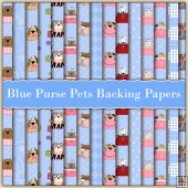 15 Blue Purse Pets Backing Papers Download (C219)