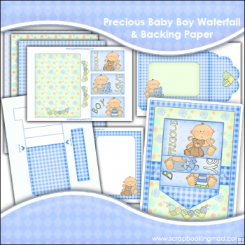 Precious Baby Boy Waterfall Card, Envelope & Backing Papers