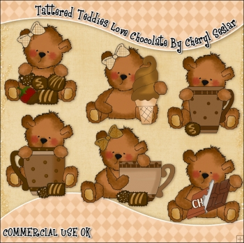 Tattered Teddies Love Chocolate ClipArt Graphic Collection