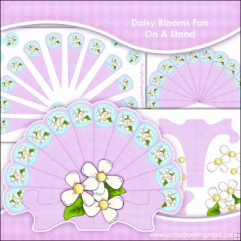 Daisy Blooms Fan On A Stand & Backing Papers