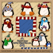 RESALE ART WORK - Winter Penguins Clipart Collection