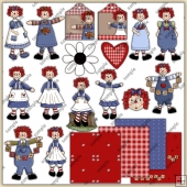 Raggedy Annies 1 ClipArt Graphic Collection