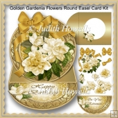 Golden Gardenia Flowers Round Easel Card Kit