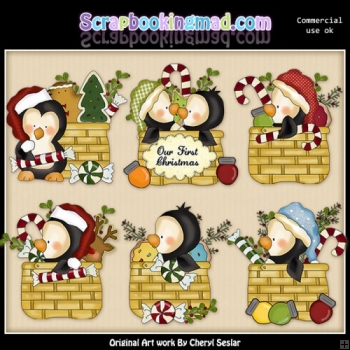 Penguin Christmas Baskets ClipArt Collection