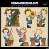 Cute Flower Girls ClipArt Graphic Collection