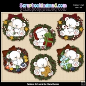 Polar Bear Christmas Wreaths ClipArt Collection