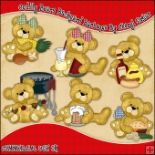 Cuddly Bears Backyard Barbeque ClipArt Graphic Collection