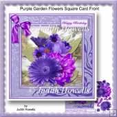 Purple Garden Flowers Square Card Front