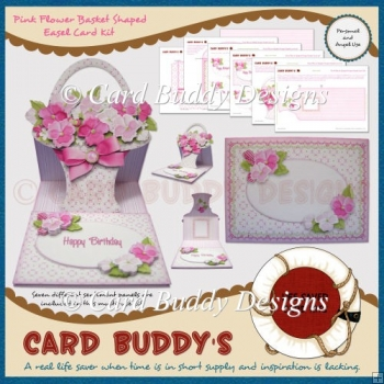 Pink Flower Basket Shaped Easel Card Kit