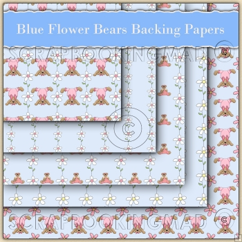 5 Blue Flower Bears Backing Papers Download (C75)