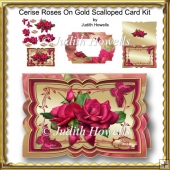 Cerise Roses On Gold Scalloped Card Kit
