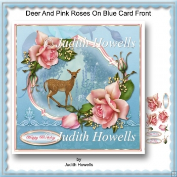 Deer And Pink Roses On Blue Card Front