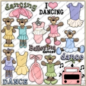 Ballerina Bears ClipArt Graphic Collection