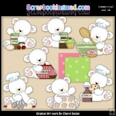 Baking Polar Bears ClipArt Collection