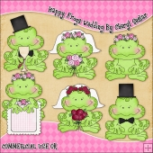 Happy Frogs Wedding ClipArt Graphic Collection