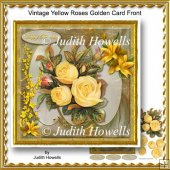 Vintage Yellow Roses Golden Card Front