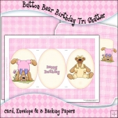 Button Bear Birthday Tri Shutter Card